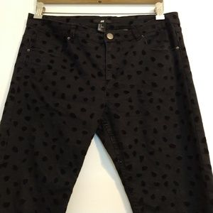 H&M Black Jeans Spotted Velveteen Patches 12
